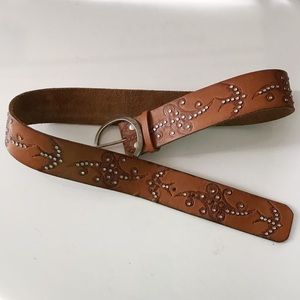 Tooled leather belt with bling and swallows